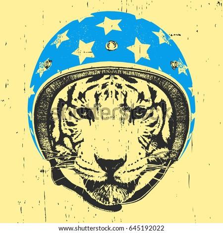 portrait of tiger with helmet
