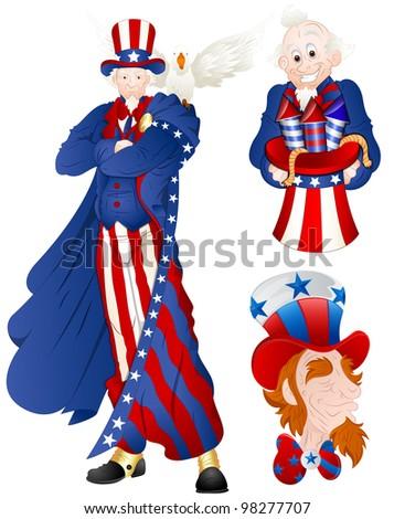 Portrait of Uncle Sam Vector Illustration