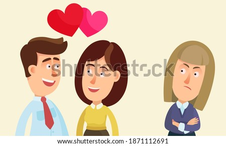 Portrait of unhappy woman looking enviously at a couple in love. Young woman is envious and jealous of her girlfriend. Love triangle. Vector illustration, flat design, cartoon style, isolated. Stockfoto ©