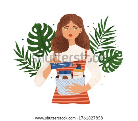 Portrait of woman holding basket with organic cosmetics vector flat illustration. Female choosing eco friendly skin care products decorated by tropical leaves and design element isolated on white