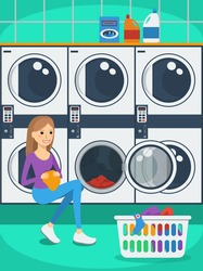 Portrait of woman with basket of clothes in laundromat. Flat style