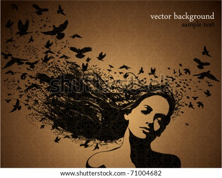 stock vector : Portrait of Woman with birds flying from her hair.