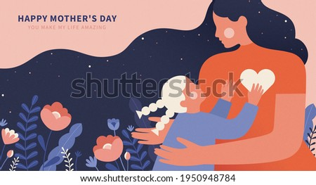 Portrait of young daughter trying to give her mother a big hug. Illustrated in flat design on pink background. Concept of motherhood or love toward mothers.