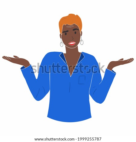 Portrait of young shocked afro american woman with casual style looking desperate or panic, keeping mouth open and making helpless gesture with her hands, doesn't know what to do. Person using non-ver Foto stock ©