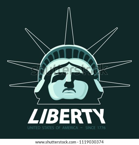 Portrait. Statue of Liberty USA, poster. 2018. Green Linear Image. National Symbol of America. Illustration, dark green background. Use presentations, corporate reports, emblems, labels, logos, vector