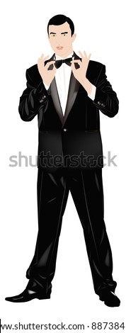 Portrait the man in a classical tuxedo on an white  background