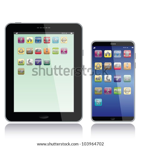 portrait view illustration of a tablet pc and smart phone with apps icons on screen,isolated in white background. - stock vector