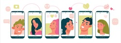 Portraits beauty people on mobile screens. Online dating concept for dating website app. Flat vector illustrations for designers templates.
