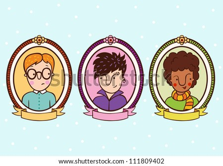 Portraits of children in the frame. Pupils, students, boys.  Set of 3 cute cartoon teenagers. - stock vector