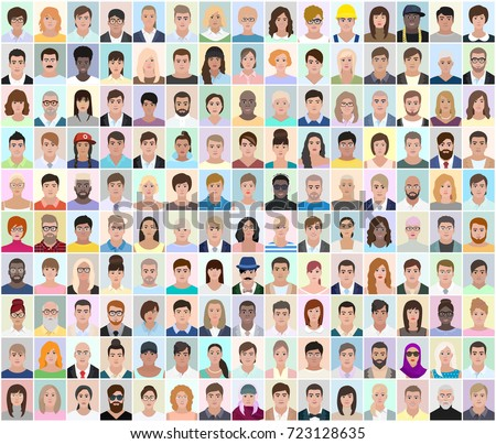 Portraits of different people, light background, detailed drawing, vector illustration #723128635