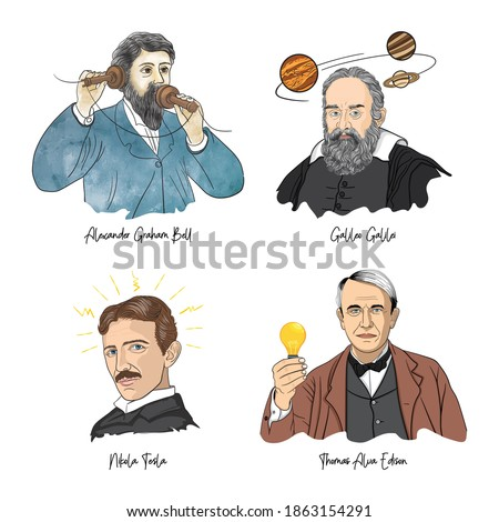 Portraits of famous scientist. Graham Bell, Galileo Galilei, Nikola Tesla, Thomas Alva Edison