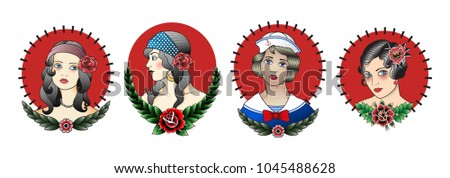 Portraits of Girls. Traditional Tattoo Design Set