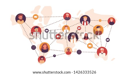 Portraits of happy men and women connected with each other by dotted lines on world map. Worldwide business team, global professional network, multinational company. Flat cartoon vector illustration.