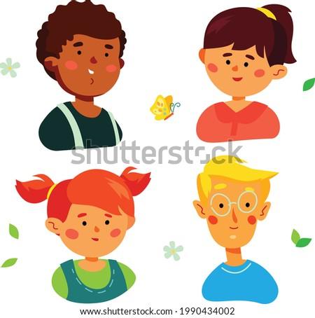 portraits of happy preschool children characters