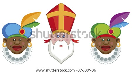 Portraits of Sinterklaas and his colorful helpers isolated on white background - vector