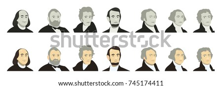 Portraits of US Presidents and famous politicians. Stylized like on US Dollar banknotes money of USA. Washington, Jefferson, Lincoln, Hamilton, Jackson, Grant, Franklin. flat vector set, color, grey