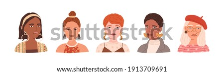 Portraits of young modern women wearing beret, eyeglasses and earrings. Set of trendy and fashion female avatars with different hairstyles isolated on white background. Flat vector illustration. Сток-фото ©