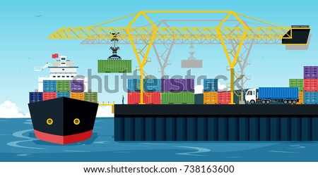 Ports with cargo ships and containers work with crane.