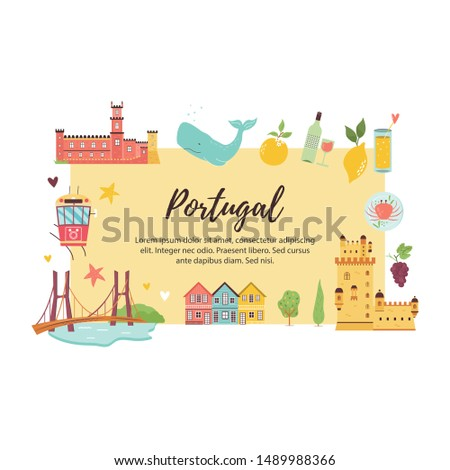 Portugal abstract design with icons, symbols destinations landmarks. Explore Portugal concept image. For banner, travel guides. Vector illustration