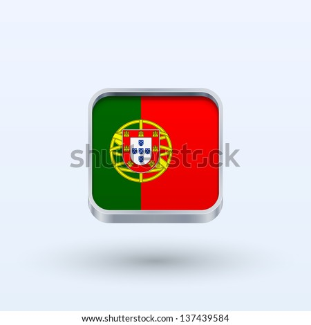Portugal flag icon square form on gray background. Vector illustration.