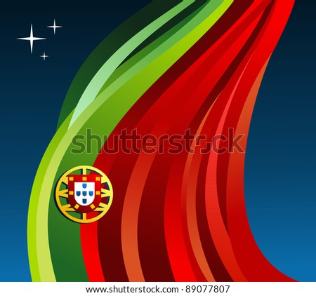Portugal flag illustration fluttering on blue background. Vector file available.