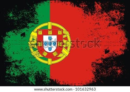 Portugal grunge flag - stock vector