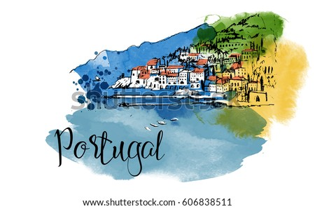 portugal hand drawn watercolor
