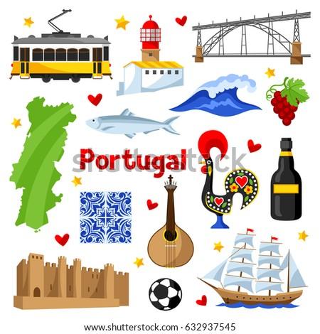 portugal icons set portuguese