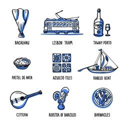 Portugal landmarks set. Symbols of Portugal. Handdrawn sketch style vector illustration.