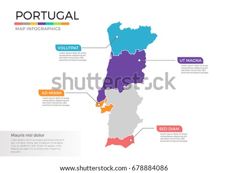 Vector Portugal Map With Regions Download Free Vector Art Stock - Portugal map regions