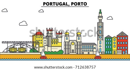 portugal  porto. city skyline ...