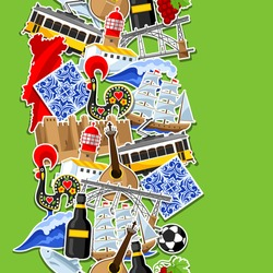 Portugal seamless pattern with stickers. Portuguese national traditional symbols and objects.