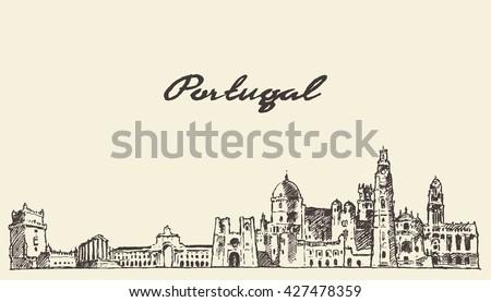 portugal skyline  vintage...