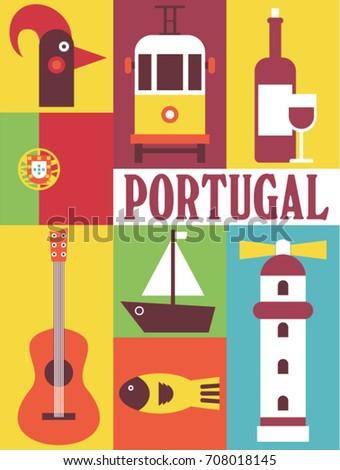 Portugal vector flat illustration icon set travel background