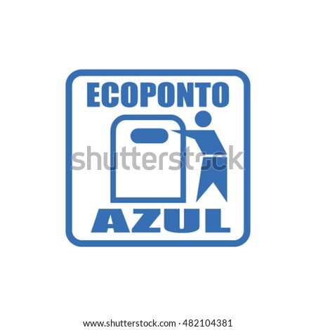 Shutterstock Portuguese blue recycling container for papers and cards, ecoponto azul para reciclar papel e cartao