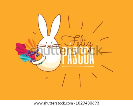 Portuguese Brazilian title saying Happy Easter. Pascoa Easter Logotype. Colorful Eggs Composition. Packed Chocolate Eggs. Brazilian Easter Design.