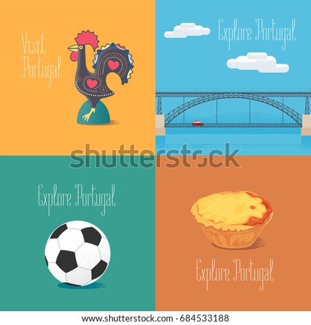 Portuguese symbol Barcelos rooster, football, bridge Dom Luis vector illustrations. Visit Portugal concept design elements or cliparts