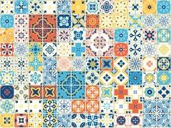 Portuguese tiles. Vector illustration of Azulejo on white background. Mediterranean style. Multicolor design.