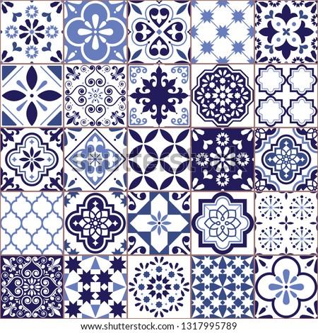 Portuguese vector Azulejo tile seamless pattern, Lisbon retro old tiles mosaic, Mediterranean repetitive navy blue textile design  Ornamental pretty background inspired by Spanish tile art