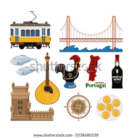 portuguese vector icon set in