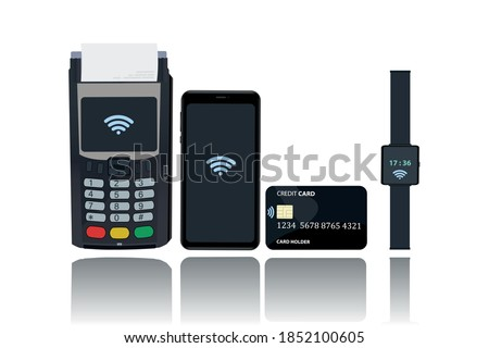 POS and NFC payment technology concept. Payment from a mobile phone, card, watch by bringing the device closer to the POS terminal. Flat vector illustration