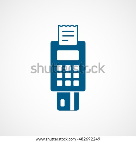 POS Credit Card Terminal Blue Flat Icon On White Background