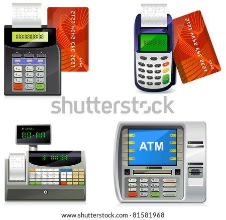 POS machines. Set of the detailed icons.