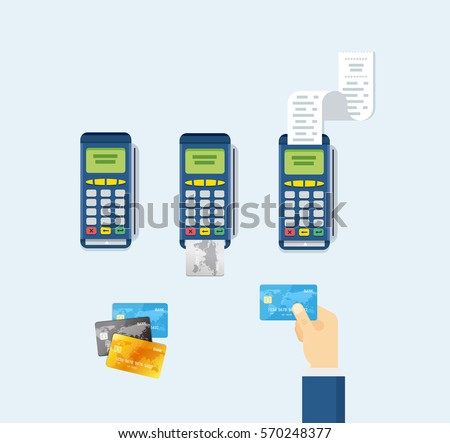 POS terminal and Credit card processing - illustration in flat style.