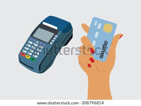 pos terminal and hand holding