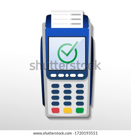 POS terminal confirms the payment. NFC payment processing device.