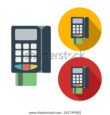pos terminal flat color and