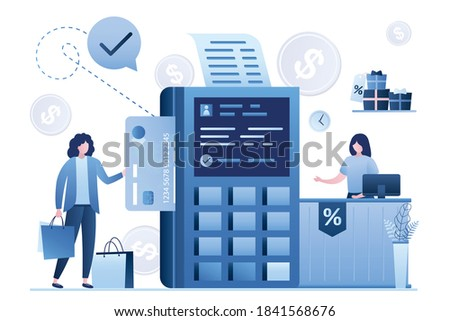 POS terminal, info on screen. Woman shopper pays for purchases by credit card. Counter in store and saleswoman. System of secure cashless payments, global transactions, nfc. Flat vector illustration