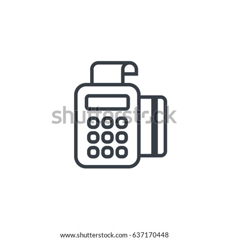 pos terminal payment  line icon