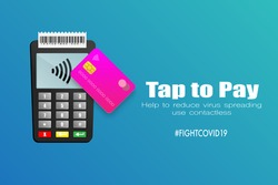 POS terminal. Payment terminal with receipt and credit card with paywave technology. Business and Health concept to prevent virus covid-19 from spreading use the